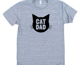 Cat Dad TriBlend Heather Grey TShirt with Black print - Family Photos, Gift for Dad, Gift for Him, Cat Guy, Cat Person, Cat Lady
