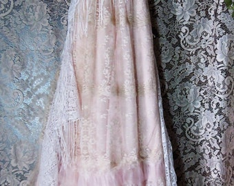Blush lace dress  tulle ruffles fringe  boho wedding  vintage  bride outdoor  romantic small by vintage opulence on Etsy