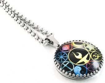 Silver Necklace Pendant Jewelry, World Religion, UU Jewelry, Chalice,  Round, 25mm, 1 inch