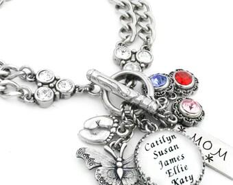 Mom's Birthstone Jewelry, Mother's Bracelet, Children's Names Jewelry, Grandmother Charm Bracelet, Grand childrens Names