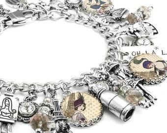 Silver Charm Bracelet, Paris Jewelry, Paris Bracelet, Silver Charm Jewelry, Paris Charm Bracelet, French Bracelet