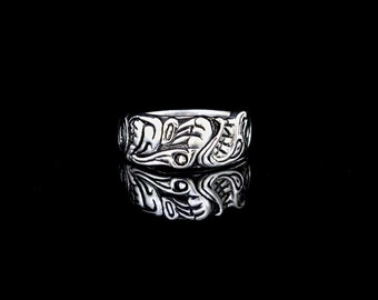 Wolf Ring Native American Style Sterling Silver with Sun and Moon, re-purposed sterling silver, recycled silver ring