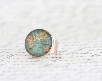 Gift For Traveler - Statement Map Ring - Bon Voyage Gift - Wanderlust Ring - Travel Gift - Travelers Jewelry - Adjustable Ring - Brass Ring