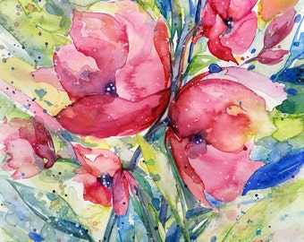 "Abstract Flower Watercolor Painting, Cottage style, shabby chic, Pink, Red, Poppy, Poppies,  ""Alluring Blooms 4"" Kathy Morton Stanion EBSQ"