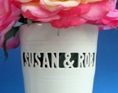 Custom Wedding Gift - Heirloom Vase with Names & Wedding Date / Anniversary - block lettering