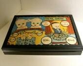 original painting, sandy mastroni, silverware chest storage box,freak show ,Flatware box. Carnival freaks , creepy circus decor