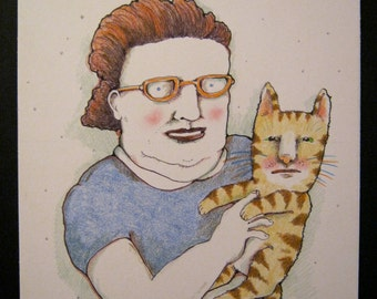 sandy mastroni ,Lady and cat portrait , original illustration, colored pencil and ink , illustration board