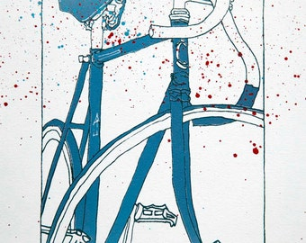 Track Racking Bike in Cool Blue with Spatter on White - Bicycle Art Print - Bicycle Art Print- Bike Wall Art - Bicycle Painting - Cycling