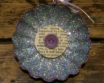 Upcycled Vintage Round Tart Tin Ornament