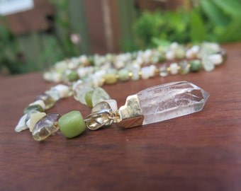 Raw Clear Quartz Crystal Long Beaded Necklace - Green Neutral White Beige - Gold Stone - Funky Bohemian Gypsy - Earthy Natural Boho Jewelry