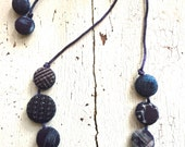 "Vintage Japanese Kasuri Indigo ""Dot"" Textile Necklace"