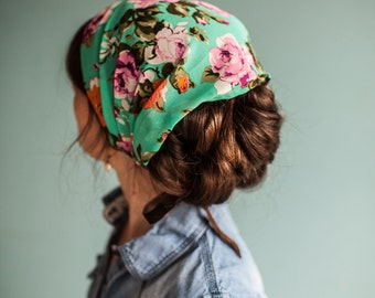 Fall Floral Chiffon Headwrap | Garlands of Grace Specialty headwrap headcovering veil headband