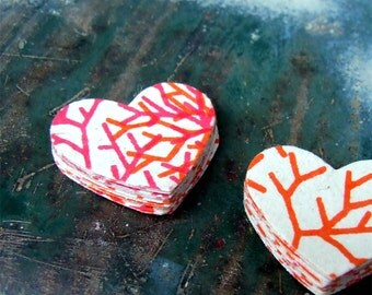 Winter Rose Heart Stickers, Package of 20 Handmade Sticker Seals, Pink Coral Orange Paper, Sticky Hearts, Valentines Day, Flake Stickers