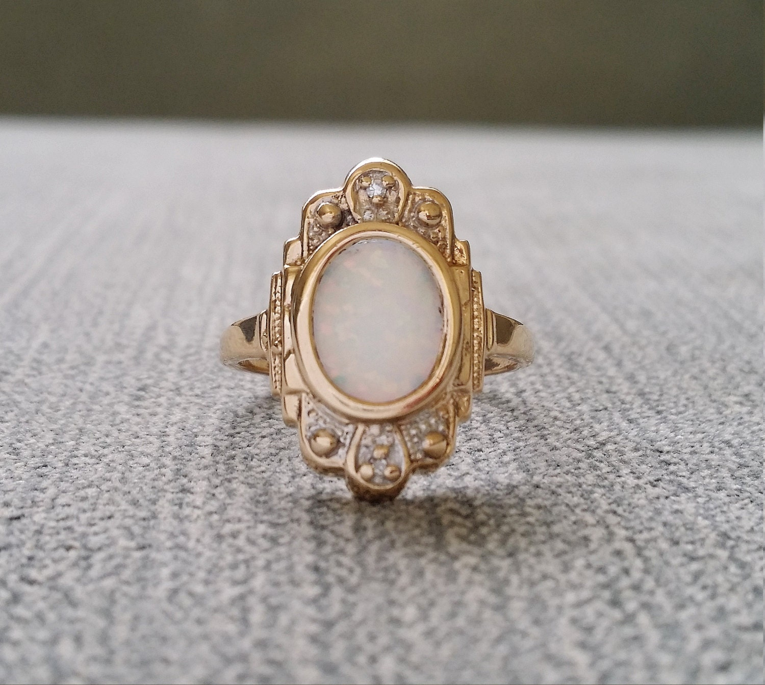 Antique Two Toned Gold Opal Diamond Engagement Ring Bohemian