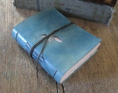 "Leather Journal . Jack Kerouac: ""One day I will find the right words, and they will be simple."" hand-dyed blue (320pgs)"