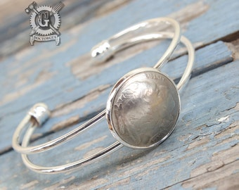 Dapped Buffalo Nickel Cuff Bracelet - Heads Up - Recycled Coin Jewelry by Doctorgus - Gypsy Boho Bohemian Pirate Steampunk Cowgirl Style