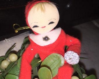 Vintage Elf on Greenery Ball
