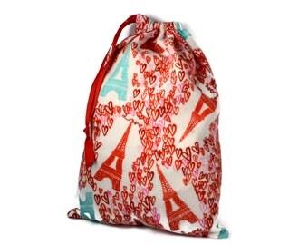 Eiffel Tower Gift Bag, Heart Bag, Eiffel Tower Knitting Bag