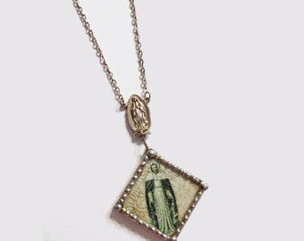 Soldered Virgin Mother Necklace with Vintage Rosary Medal