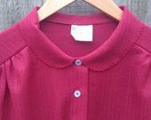 Plus Size Vintage Size 18 20 26 30 Burgundy Blouse 1XL 2XLm, 4XL 5XL