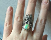 Opal and Sterling Silver- The  Flower Cicada Ring