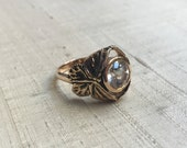 White Topaz in Bronze- The Butterfly Duo Ring