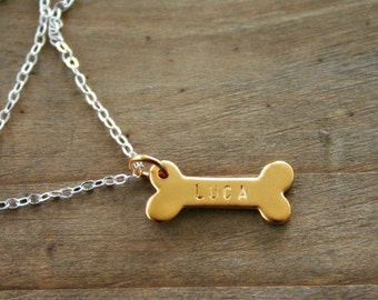 Gold dog bone necklace personalized with dog name. Pet jewelry gift for her, hand stamped, gold jewelry, sterling silver dog necklace