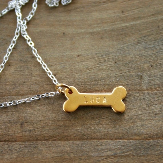 Gold hand stamped dog bone necklace custom with dog name. Pet jewelry for Mom Daughter or Friend