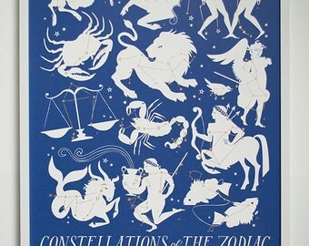 Constellations of the Zodiac - Art Print in Blue and Gold - Wall Art