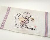 Vintage Tea Towel - Cat with Basket - Thursday - Market Day - Embroidered Linen - Hand Towel - Kitchen Towel - kitten