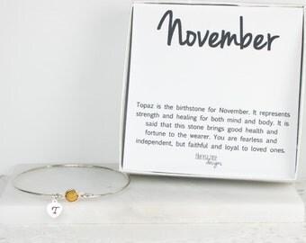 Personalized November Birthstone Swarovski Silver Bangle Bracelet, Topaz Sterling Silver Bracelet, November Birthday, Personalized Bracelet