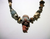 Screaming Voodoo, Monster, Bone, Hand Made Beads, Zombie, Horror Jewelry, Zombie Head Necklace