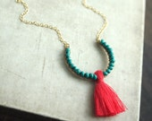 Watercolor Tassel Necklace, Turquoise Bead Pink Tassel Necklace with 14k Gold Filled Chain, Coral Tassel Necklace