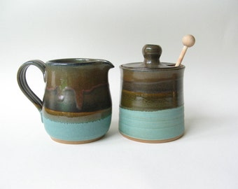 Honey Pot with Matching Pitcher