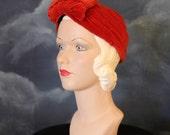 Vintage 1940s Red Velvet Turban Headwrap Style Hat Headpiece