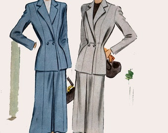 Vintage 40s McCall 7156 CLASSY Two Piece Fitted Suit Sewing Pattern Size 18 Bust 38 UNCUT