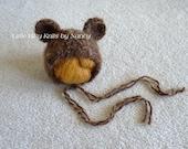 Bear Hat, RTS Newborn Hat, Animal Hat,  Newborn Photo Props,