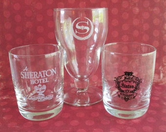 Three Vintage Hotel Glasses - The Sheraton Hotel and Hotel Sinton Cincinnati