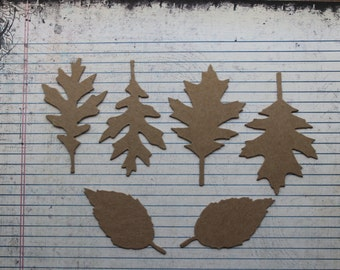 6 piece bare chipboard tattered leaf die cuts 2 each of 3 styles