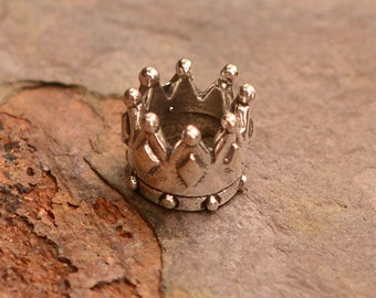Crown Slider Bead in Sterling Silver