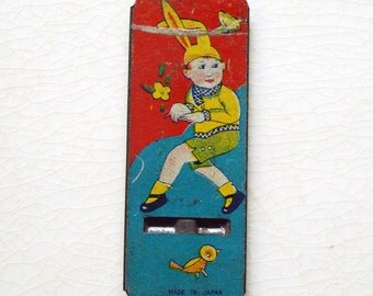 Vintage Tin Whistle, Cracker Jack Prize, Bunny Boy Toy, 1930s Metal Toy Trinket, Blue Red Toy, Child in Costume, Pre War Japan, Easter Gift