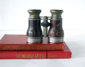 Vintage French Navy Binoculars Jumelle Marine Paris Brown Leather Field Glasses Steampunk Optics Man Cave Industrial Home Decor
