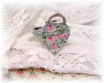 Victorian Padlock Heart Charm Ring Hand Painted Roses Pink Aqua Blue Patina Shabby Chic Vintage Silver Ring Enamel Flowers Boho Romance