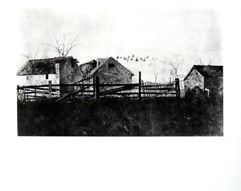 """Snow Flurries, The Mill by Andrew Wyeth - 1971 Vintage Book Page - 2 Sided Page - Reproduction Print - Black and White - 9.5"""" x 10"""""""