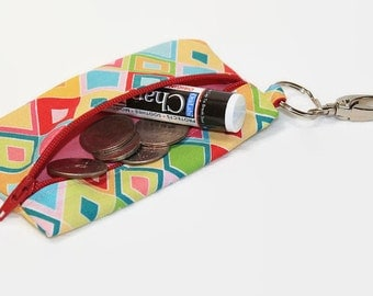 Zipper Coin Purse Pouch Keyring - Small