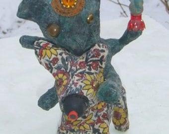 The Falconer - Original Bear Rides Moose Animal Art Sculpture with Blue Bird - Mixed Media Outsider Folk Artwork