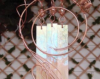 Butterfly Wind Chimes Copper Garden Glass Windchime Yard Art Sculpture Stained Glass Decor Lawn Ornament