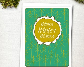 Christmas Card - Woodland Holiday - Holiday Card Set - Stationery - Holiday Cards - Warm Winter Wishes - Winter Cards - Christmas Cards