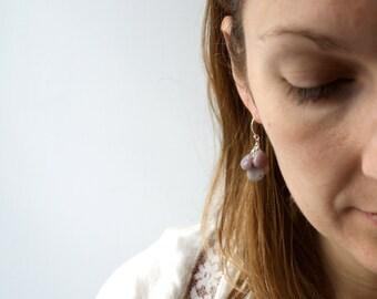 Purple Dangle Earrings . Purple Jasper Earrings . Sterling Silver Wire Wrapped Earrings . Purple Gemstone Earrings - Cayman Collection
