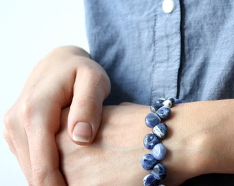 Blue Stone Bracelet . Blue Beaded Bracelet . Blue Sodalite Bracelet . Beaded Gemstone Bracelet - Cascada Collection